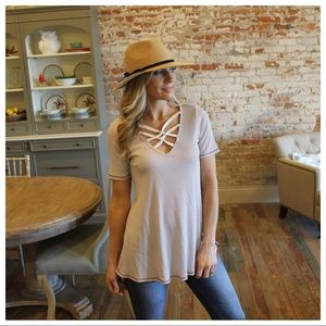 Mauve and ivory striped cross detail ribbed tunic
